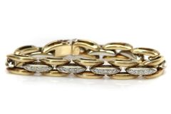 Yellow Gold and Diamond Link Bracelet
