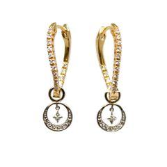 Twisted Diamond Hoop Earrings with Dangle