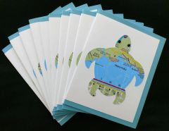 Oahu Sea Turtle Map Note Cards