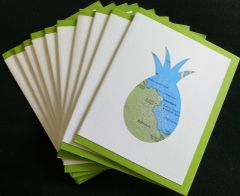 Oahu Pineapple Map Note Cards
