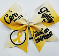 A Cure Worth Fighting For Glitter Vinyl Cheer Bow