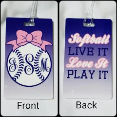 Custom Softball Monogram Personalized Bag Tag