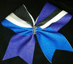 Kick Switch 1/2 Purple 1/2 Royal Cheer Bow