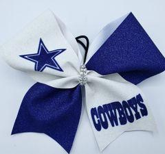 Cowboys Glitter Vinyl Cheer Bow