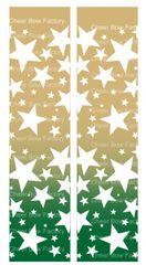 Stars Ombre Gold Green Cheer Bow Ready to Press Sublimation Graphic