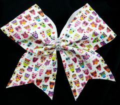 Retro Owls Glitter Cheer Bow