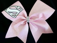 Pink Supermam Cheer Bow