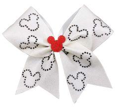 Onyx Rhinestone Mickey Glitter Cheer Bow