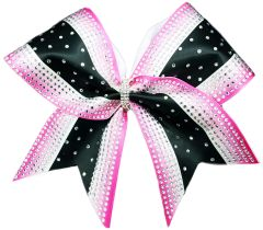 The Olivia Hot Pink Ombre with white & Black Rhinestone Cheer Bow