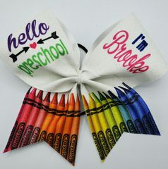 Hello preschool Brooke Glitter Vinyl Cheer Bow