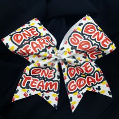 One Heart One Soul One Team One Goal Mickey Glitter Cheer Bow