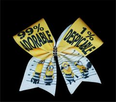Prison Minion 99% Adorable Glitter Cheer Bow