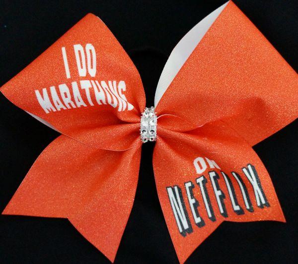 I Do Marathons On Netflix Cheer Bow Cheer Bow Factory