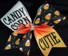Candy Corn Cutie Glitter Cheer Bow
