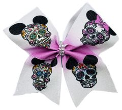 Mickey Minnie Sugar Skulls Cheer Bow