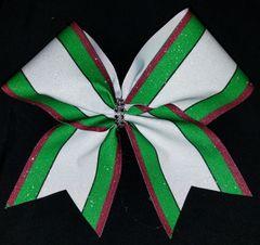 Green/White/Maroon Stripe Cheer Bow