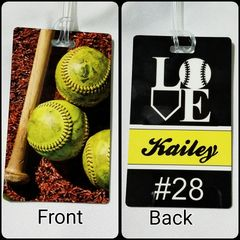 Custom Softball Love Personalized Bag Tag