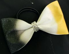 Black & Yellow Gold Tailless Cheer Bow