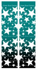 Stars Ombre Teal Black Cheer Bow Ready to Press Sublimation Graphic