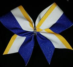 Royal / Athletic Gold / White Stripe Cheer Bow