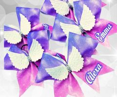 Angel Wings Personalized Glitter Cheer Bow