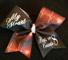 My Heart Beats In 8 Counts Cheer Bow