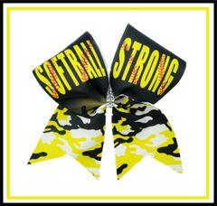 Softball Strong Glitter Vinyl Cheer Bow
