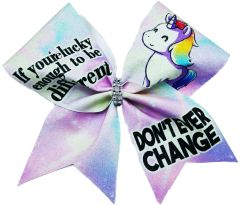 Unicorn If you're lucky enough to be different Don't ever Change Glitter Vinyl Cheer Bow