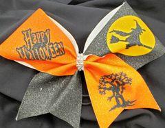 Happy Halloween Glitter Vinyl Cheer Bow