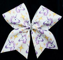 Unicorn Emoji Glitter Cheer Bow