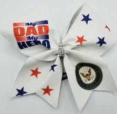 My Dad My Hero Navy Glitter Vinyl Cheer Bow