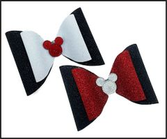 Mickey 3D Center Glitter Dolly Style Cheer Bow