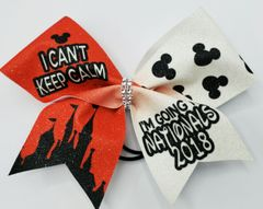 I Can't Keep Calm Nationals 2018 Glitter Vinyl Bow