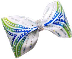 The Fiona Satin & Rhinestone Tailless Cheer Bow Lime & Royal