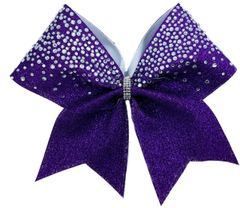 The Shelby Glitter & Rhinestone Cheer Bow Purple