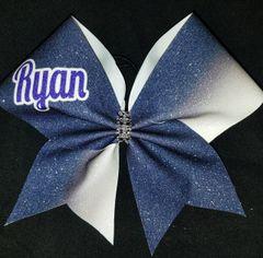 Personalized Ryan Navy/Purple Cheer Bow