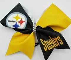 Steelers Glitter Vinyl Cheer Bow