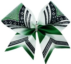 The Courtney Forest Green Black White Rhinestone Cheer Bow