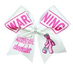 Warning Accident Prone Cheerleader Glitter Vinyl Cheer Bow