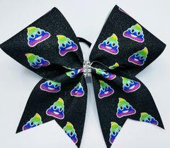 Rainbow Poop Emoji Glitter Cheer Bow