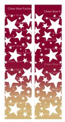 Stars Ombre Maroon Gold Cheer Bow Ready to Press Sublimation Graphic