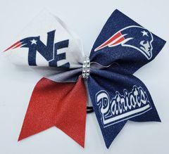 Patriots Glitter Vinyl Cheer Bow