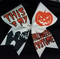 This Is My Halloween Costume Glitter Cheer Bow