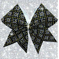 The Lexi Rhinestone Cheer Bow black & yellow gold
