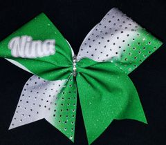 Green/White Nina Rhinestone Cheer Bow
