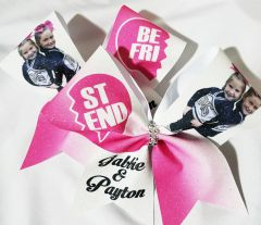 Custom Photo Best Friend Cheer Bow Pair