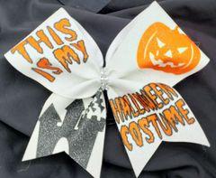 This is my Halloween Costume Glitter Vinyl Cheer Bow