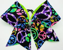 Neon Peace Signs Fabric Cheer Bow