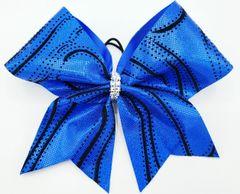 Royal & Black Fabric Cheer Bow