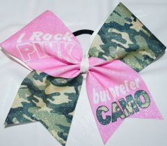 I Rock Pink but prefer Camo Cheer Bow
